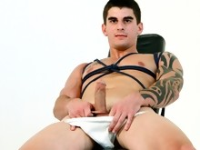 Naughty Boy Making His Cock Happy, All Tied Up On His Chair!