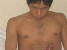 Hot Japanese boy tugs off his cock for you