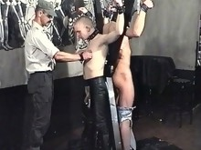 Two abused slaves get beaten by gay master