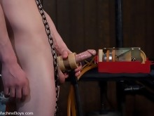 Hot stud with a big dick gets plowed by machines after machines until he spays his load.