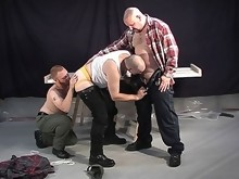 Rugged bear tied up for a bear threesome