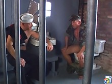 Arrested Navy guys fuck in the cell