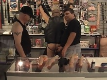Dildos fit inside a bear's tight asshole