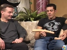 Hunky brunette stud using a variety of sex toys with a pal