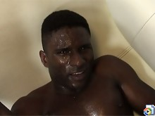 Hot young ebony studs give oral and have gay sex