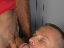Muscular DILFs strip and fuck in the gym locker room