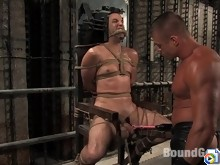 Slave jason endures electro play, flogging, and a hard bondage fuck.