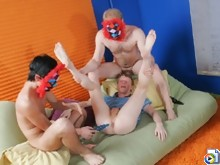 Two twinks shag a hot boy with giant dildos