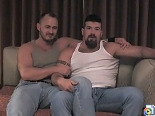 Two burly bears swallow meaty cocks